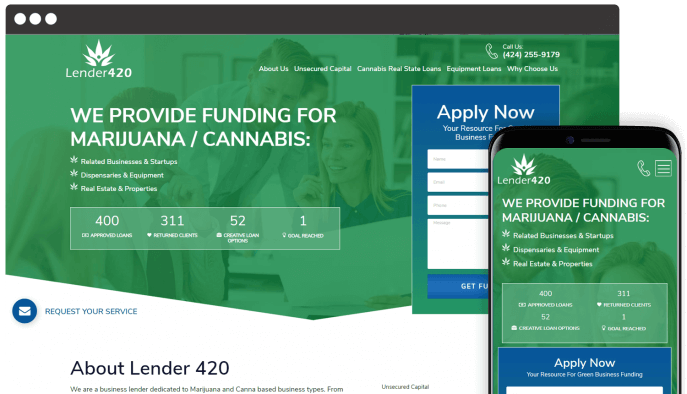 Custom website design for marijuana funding