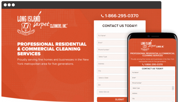 Long Island Carpet Cleaners Web Design Landing Page