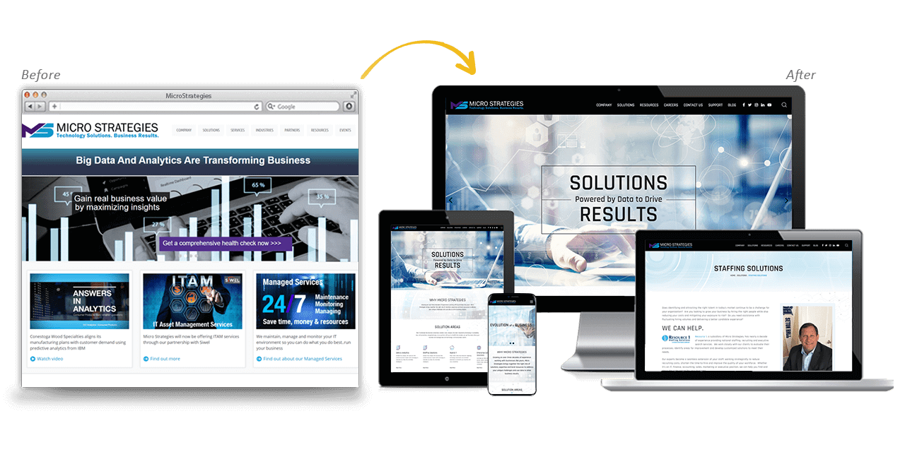 MicroStrategies Website Redesign Before After