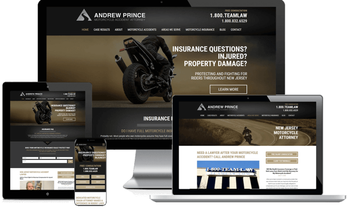 Custom website design for a motorcycle lawyer