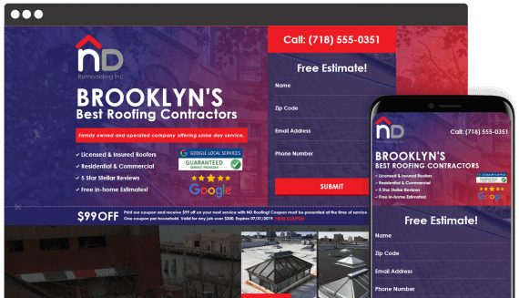 ND Roofing Web Design Landing Page