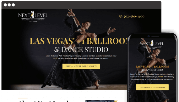 Next Level Ballroom Web Design Landing Page