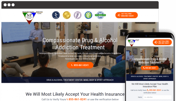 New Life Addiction Center Web Design Landing Page