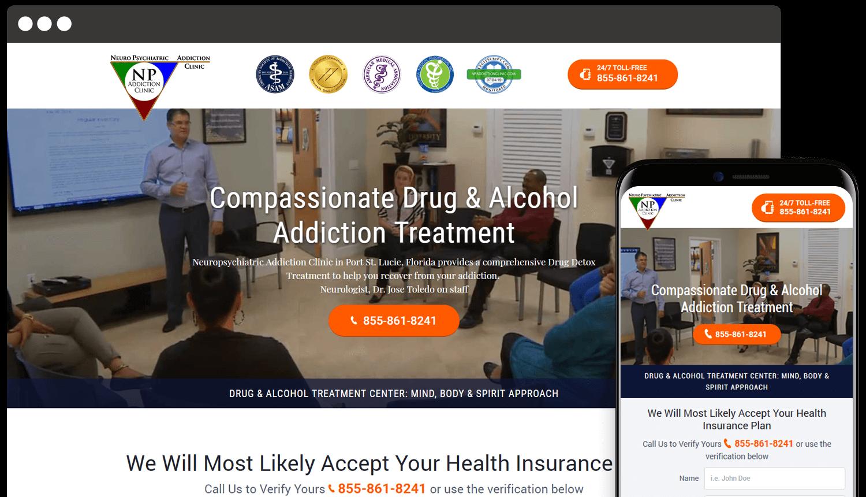 Neuropsychiatric Addiction Clinic webdesign landing showcase