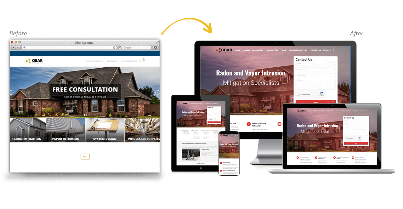 Obar Systems Website Redesign Before After