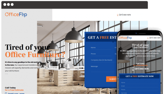 Office Flip Web Design Landing Page