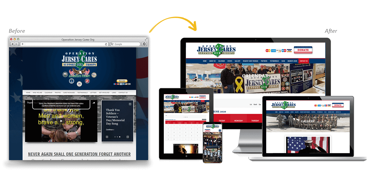 Operation Jersey Cares Org Website Redesign Before After