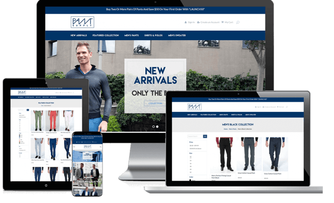 Ecommerce website for a men's clothing company