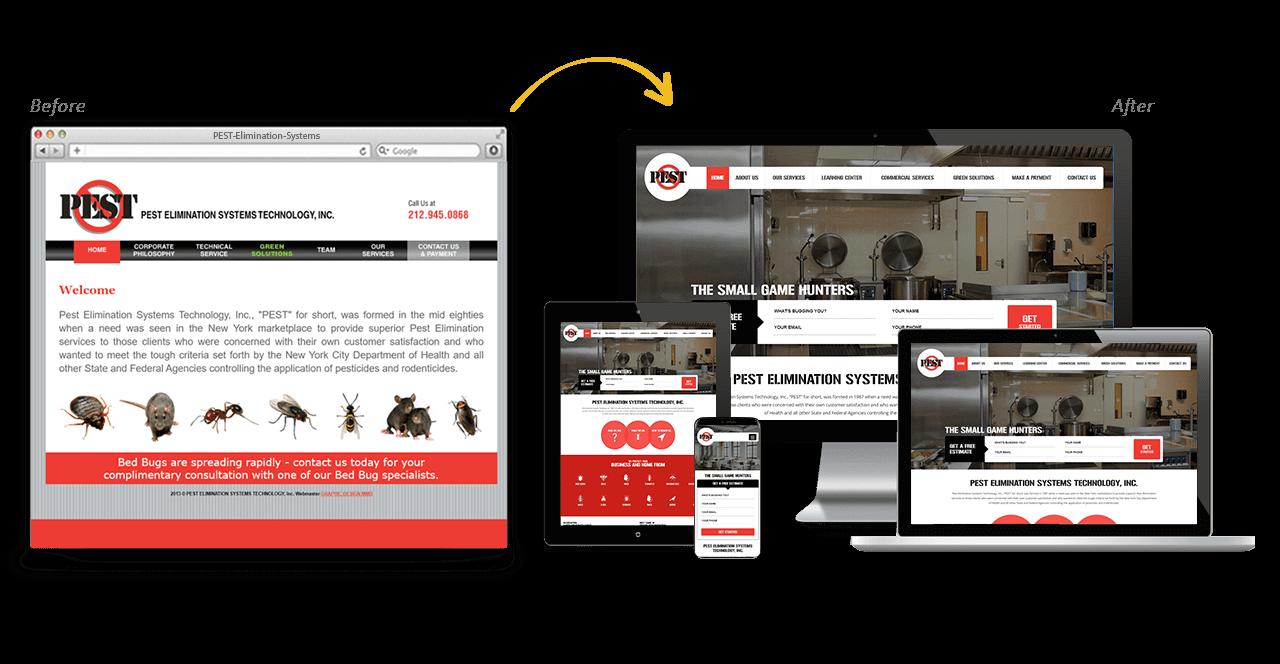 PEST Elimination Systems Website Redesign Before After