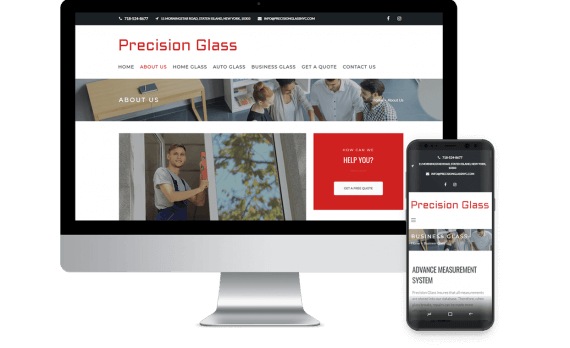 Precision Glass Staten Island Web Design Template Site