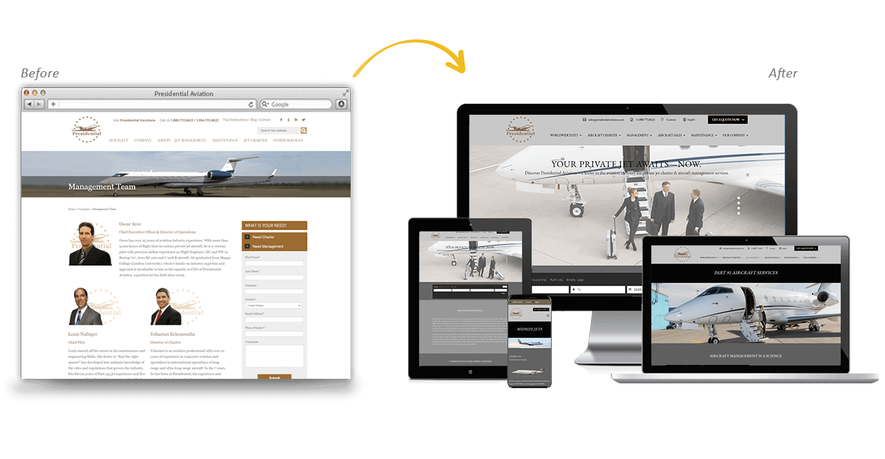 Presidential Aviation Website Redesign Before After