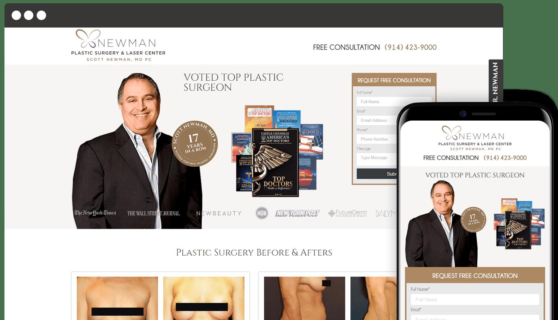 Newman Plastic Surgery Center webdesign landing page showcase