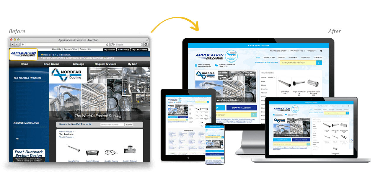 Quick Fit Ducting Website Redesign Before After