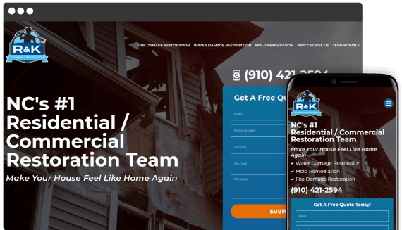 R&K Cleaning & Restoration Web Design Landing Page
