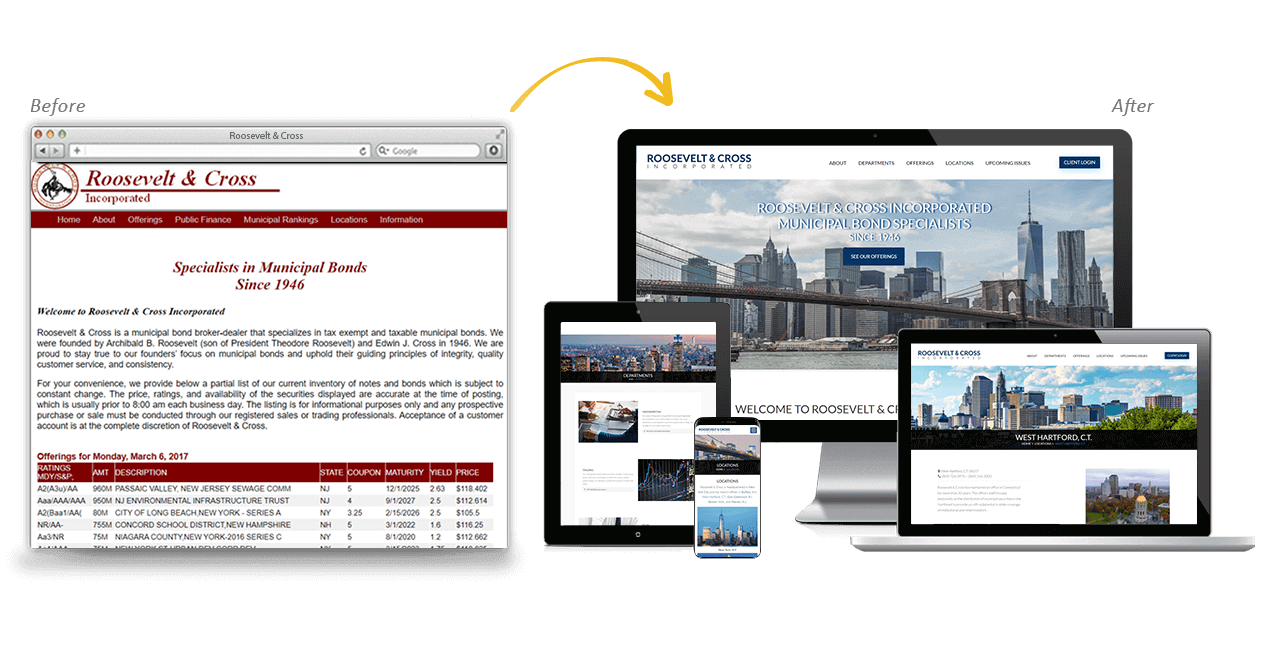 Roosevelt & Cross Website Redesign Before After