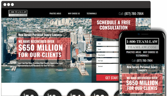 Team Law Web Design Landing Page