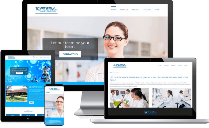 Custom website design for a skincare manufacturing company