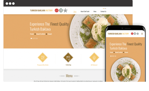 Turkish Baklava Factory Web Design Landing Page