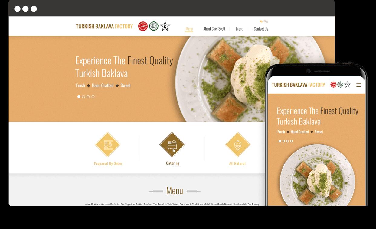 Custom Website for Turkish Baklava Factory