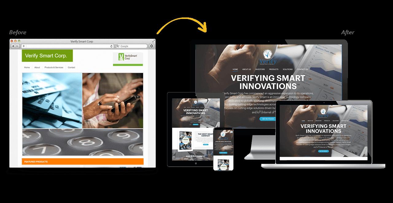Verify Smart Corporation Website Redesign Before After