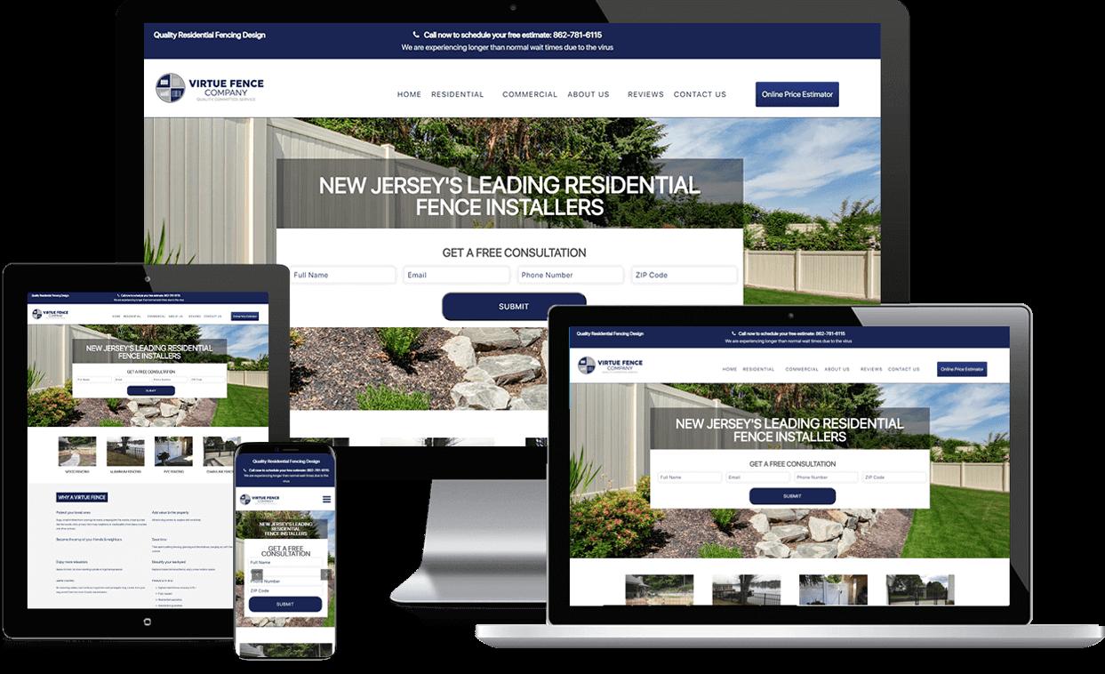 Custom Website for Virtue Fence Company