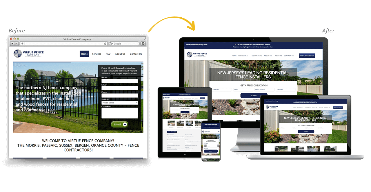 Virtue Fence Company Website Redesign Before After
