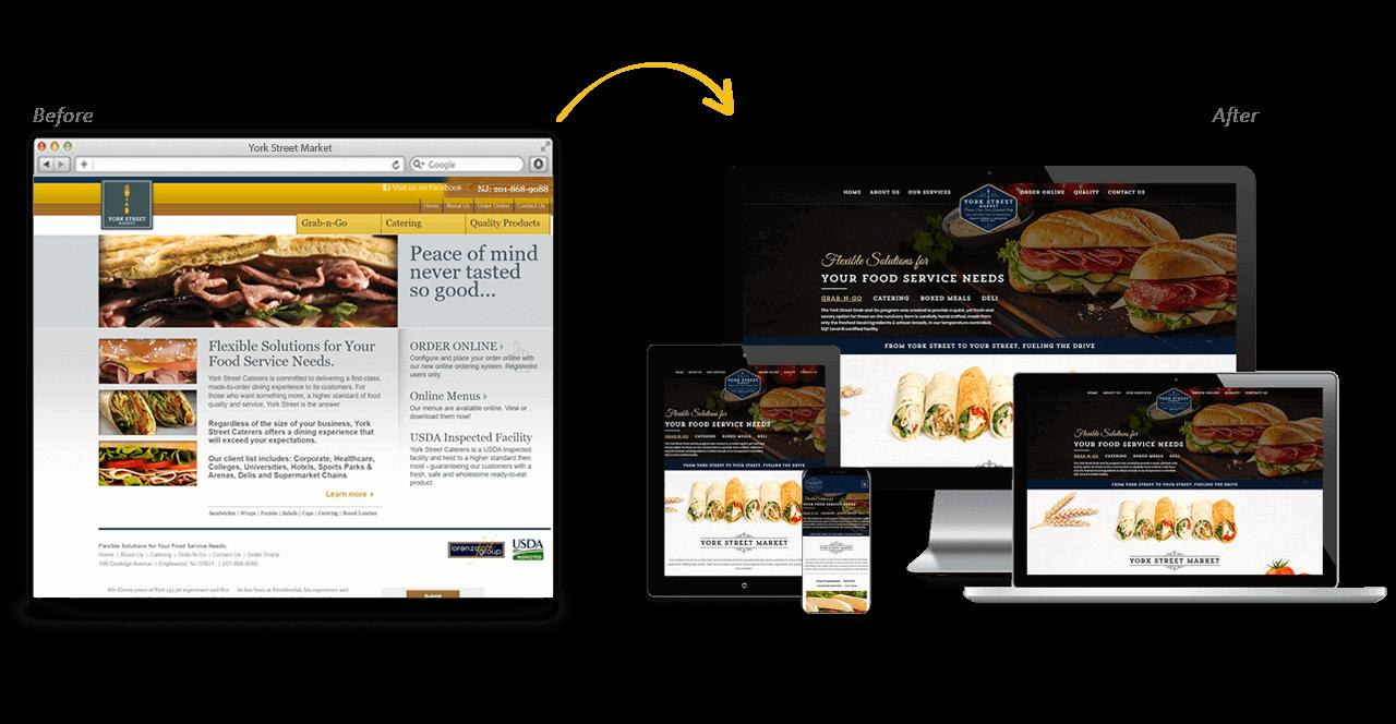 York Street Market Website Redesign Before After