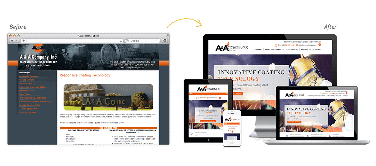 A&A Thermal Spray Website Redesign Before After