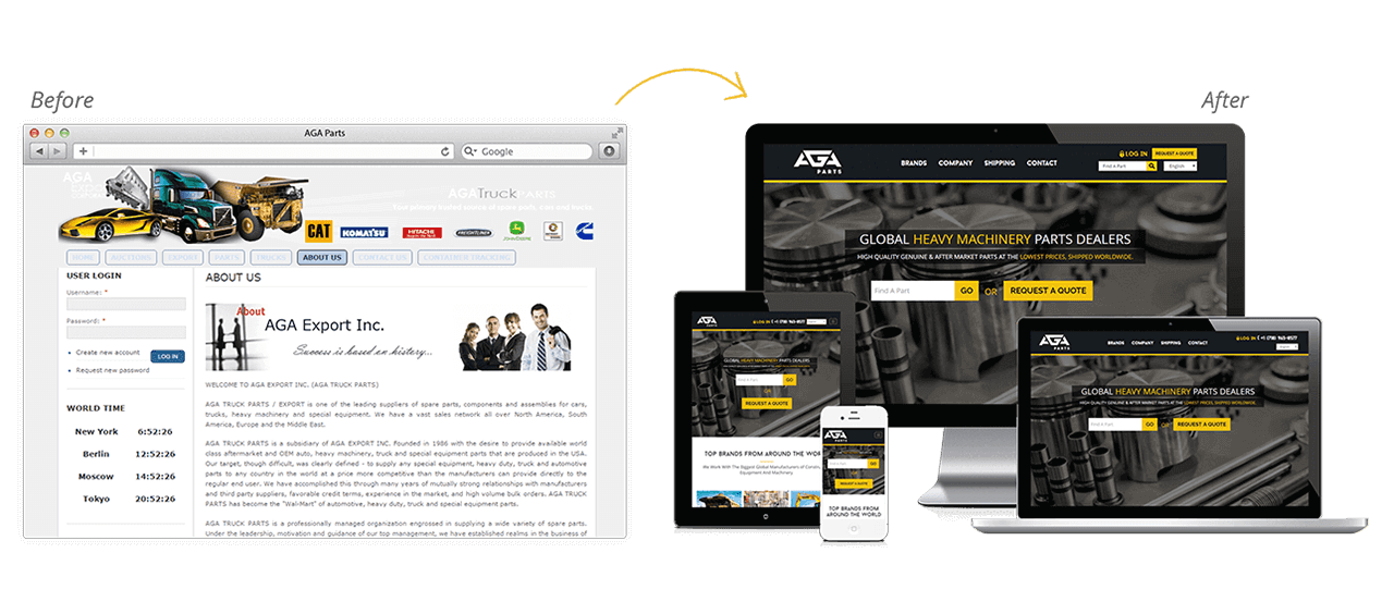 AGA Truck Parts Website Redesign Before After