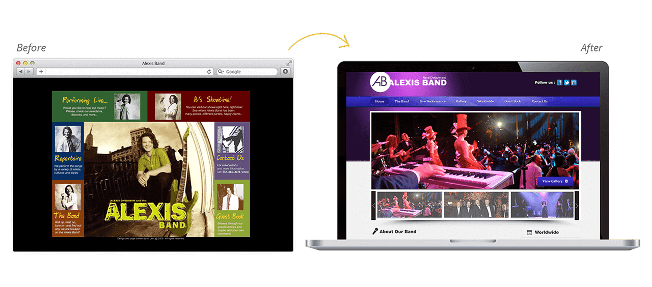 Alexis Band Website Redesign Before After
