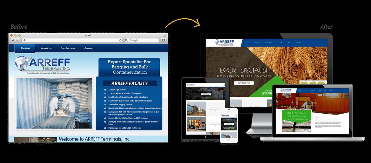 Arreff Teriminals Website Redesign Before After