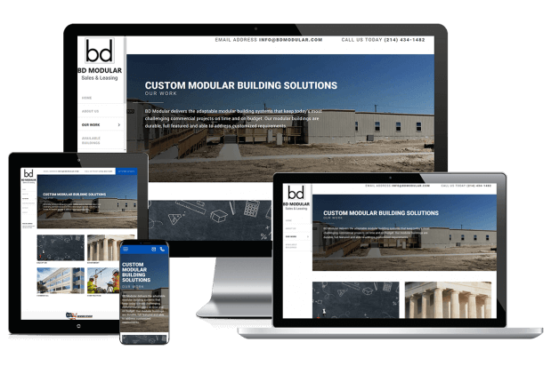 Custom website design for custom modular building