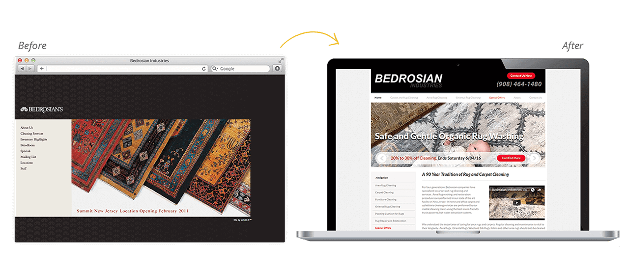Bedrosian Rugs Website Redesign Before After