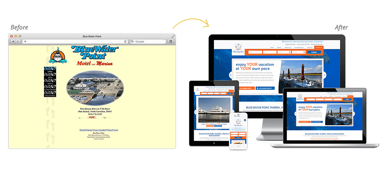 Blue Water Point Marina Website Redesign Before After