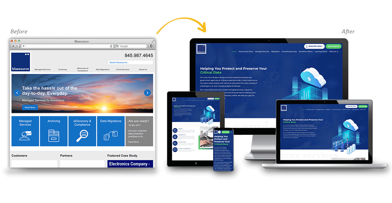 BlueSource Website Redesign Before After