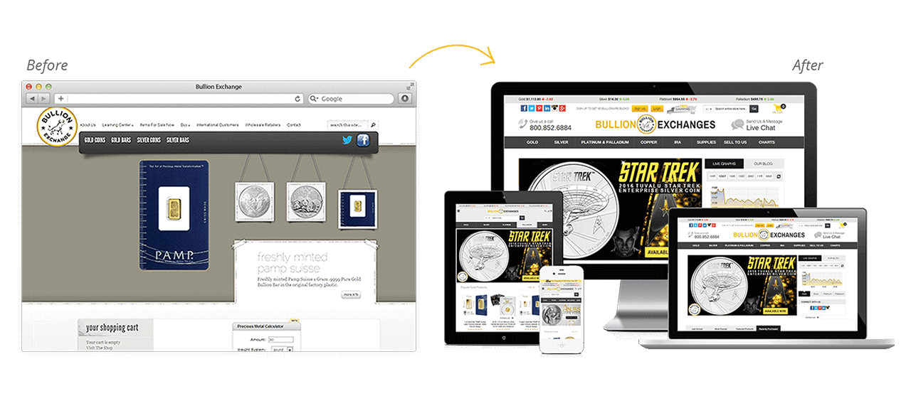Bullion Exchanges Website Redesign Before After