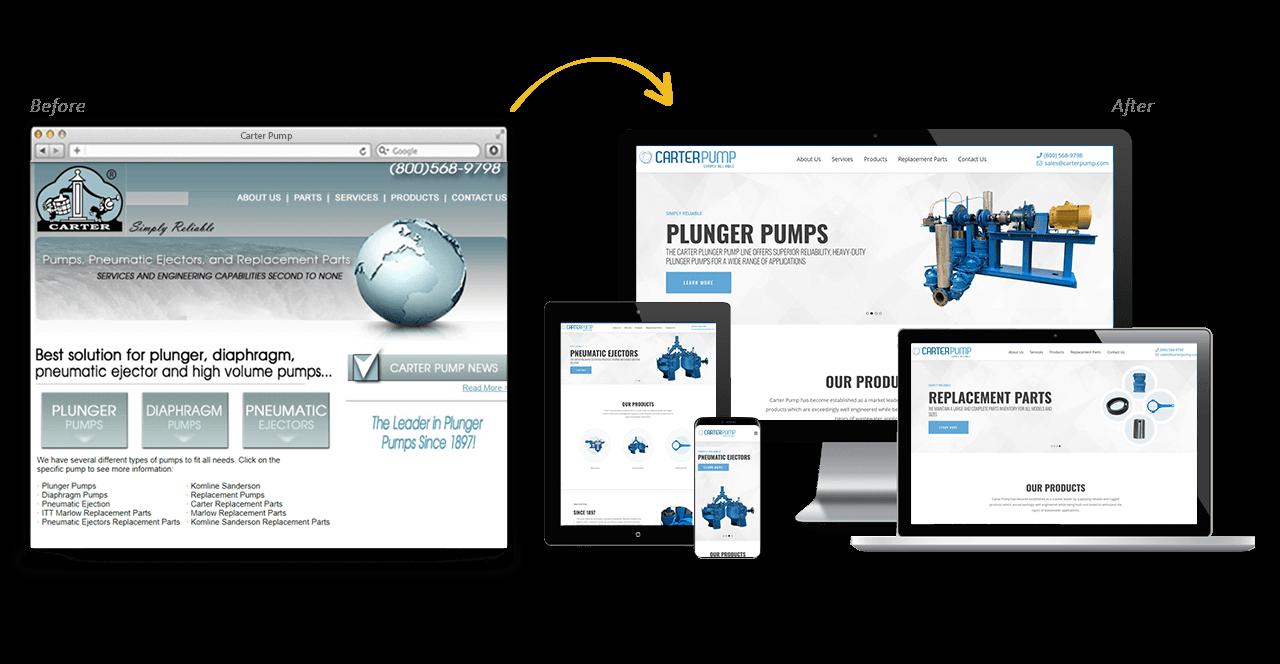 Carter Pump Website Redesign Before After