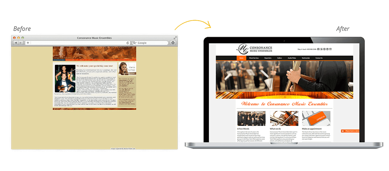Consonance Music Ensembles Website Redesign Before After