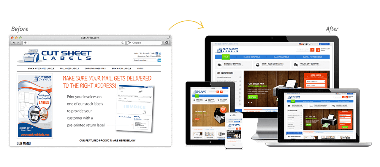 Cut Sheet Labels Website Redesign Before After