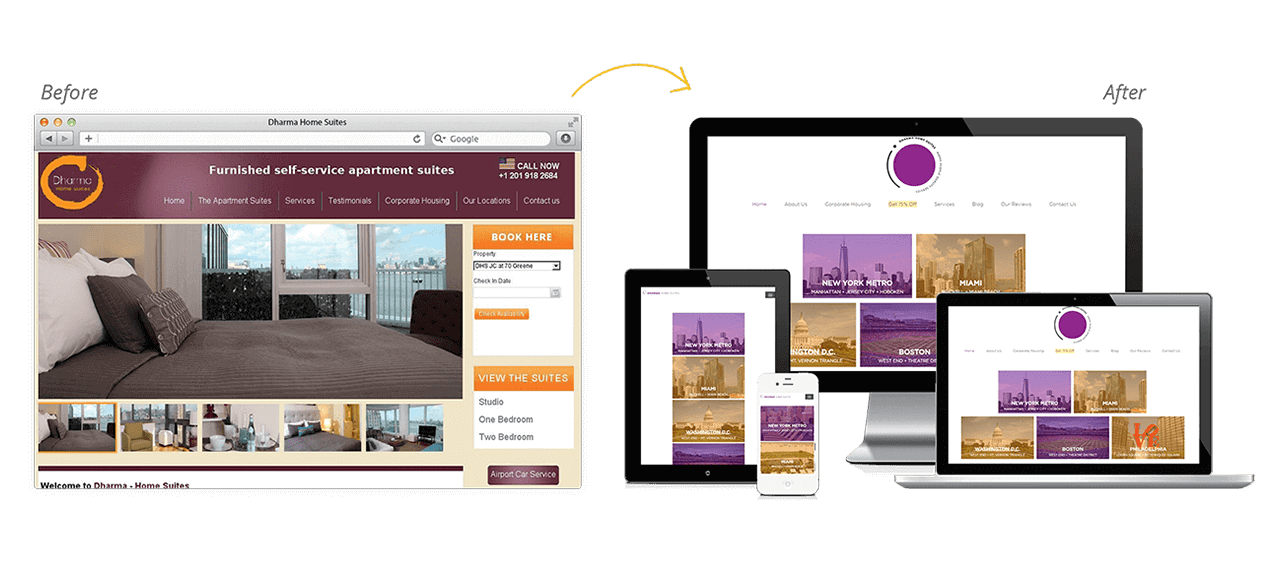 Dharma Home Suites Website Redesign Before After