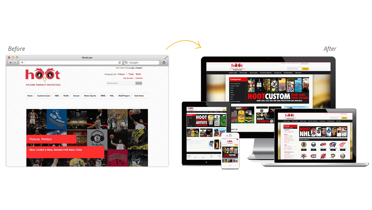 Hootcase Website Redesign Before After