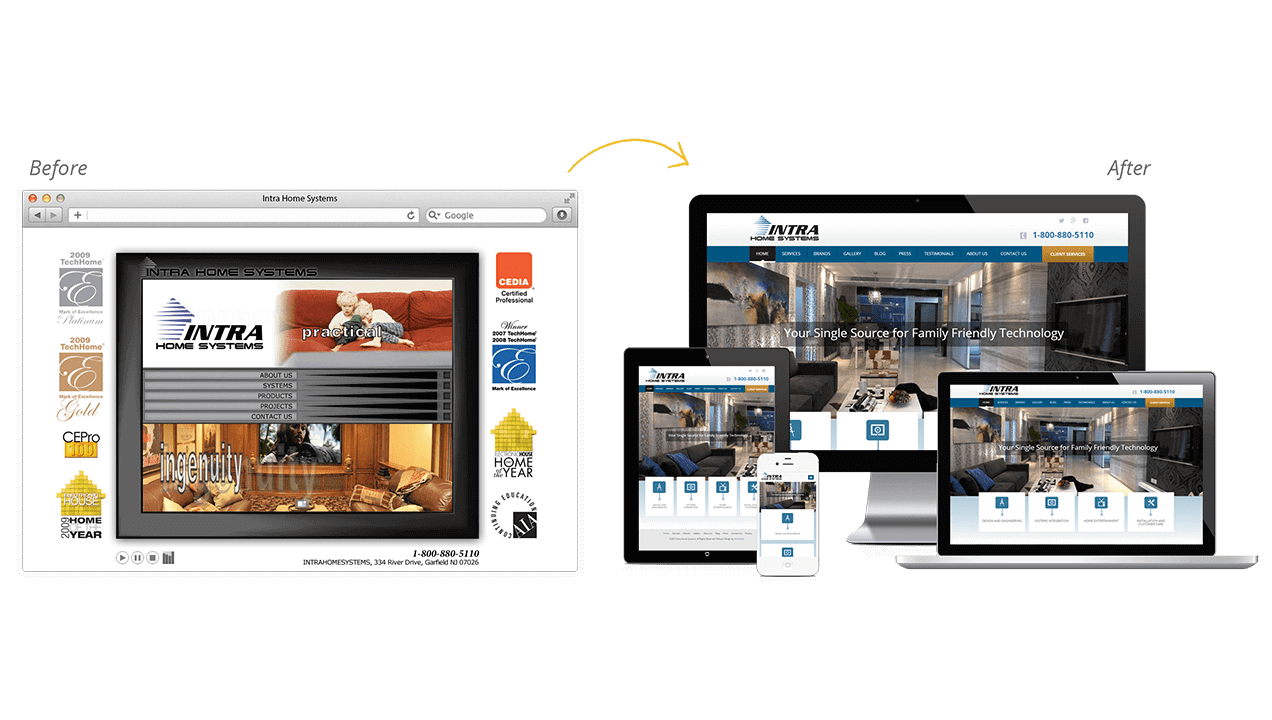 Intra Home Systems Website Redesign Before After