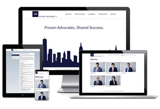 Custom website design for a legal defense firm