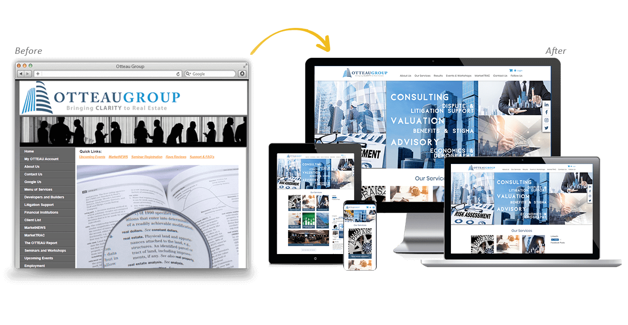 Otteau Website Redesign Before After