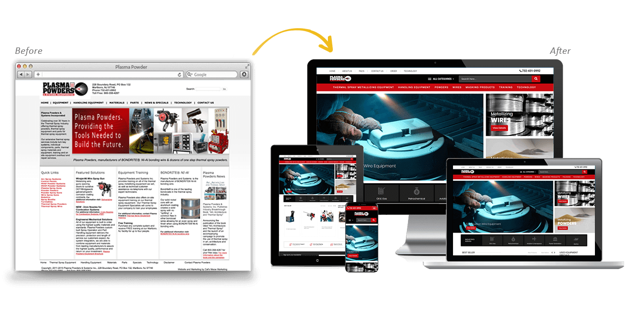 Plasma Powders Website Redesign Before After
