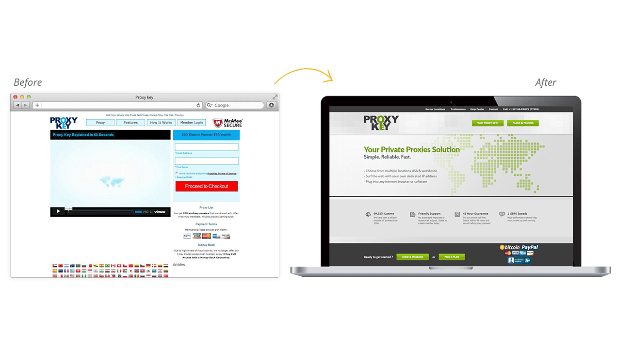 Proxy Key Website Redesign Before After