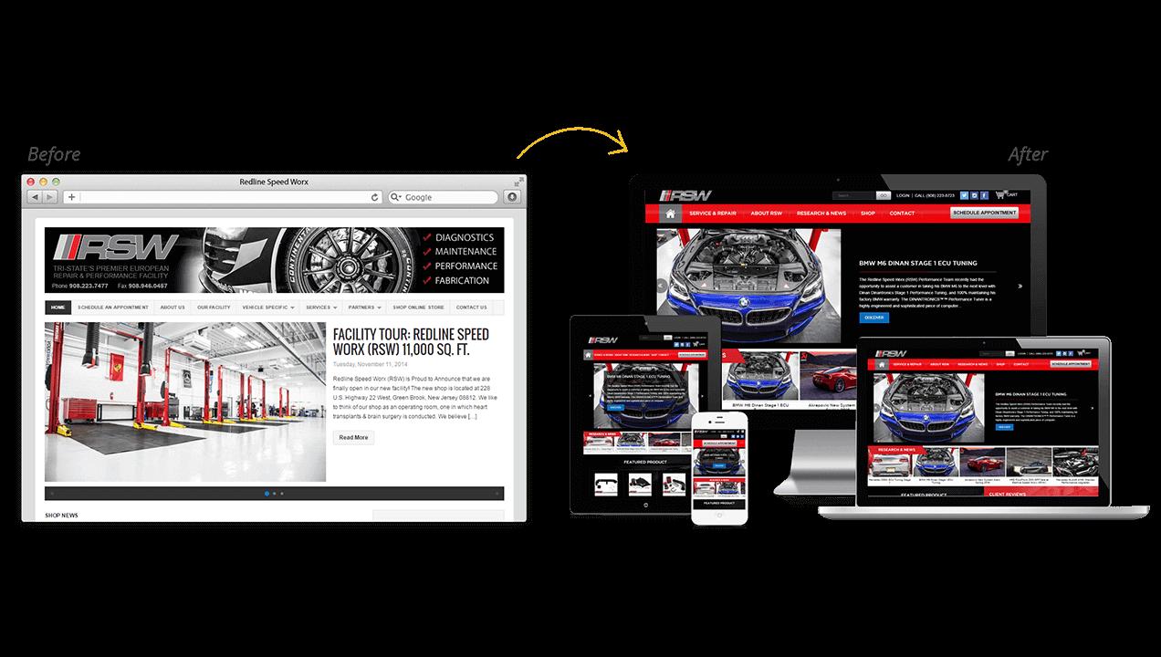 RedLineSpeedWorx Website Redesign Before After