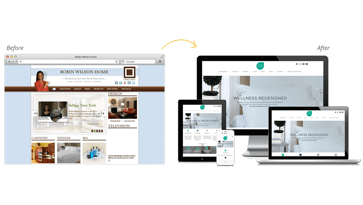 Robin Wilson Home Website Redesign Before After