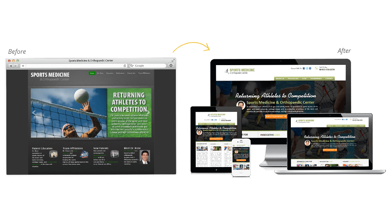 Sports Medicine & Orthopaedic Website Redesign Before After