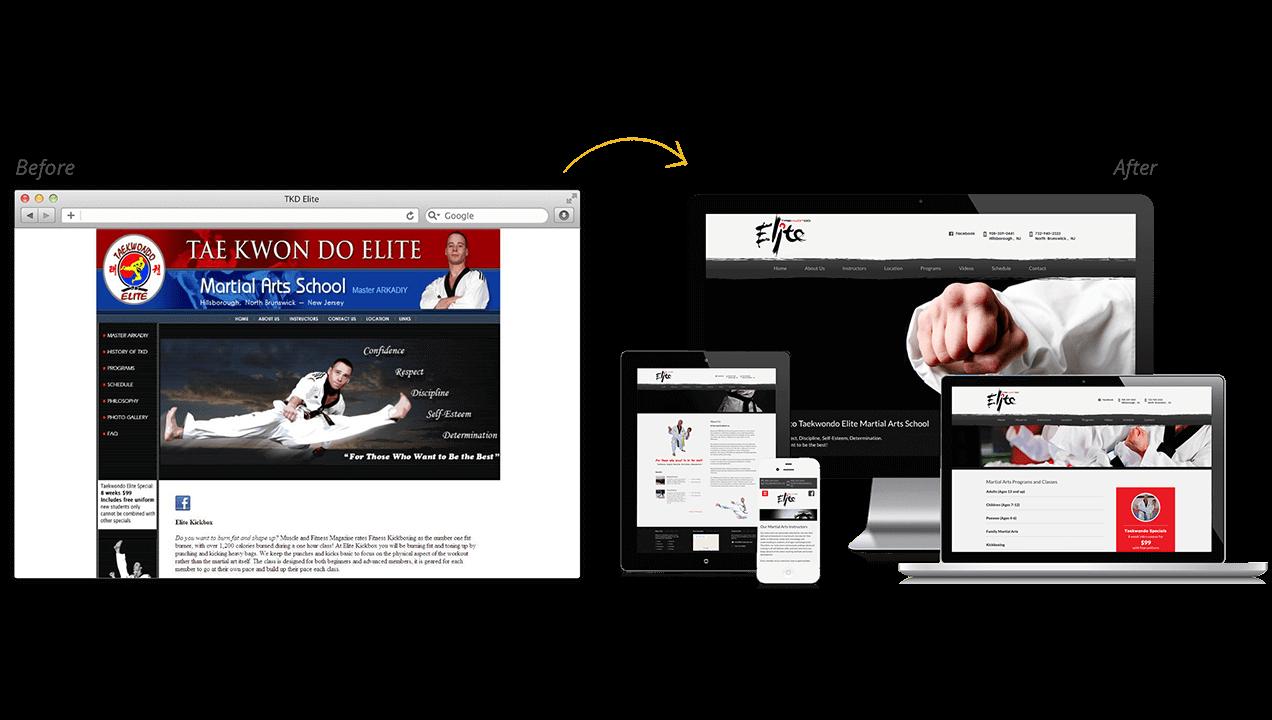 Taekwondo Elite Website Redesign Before After